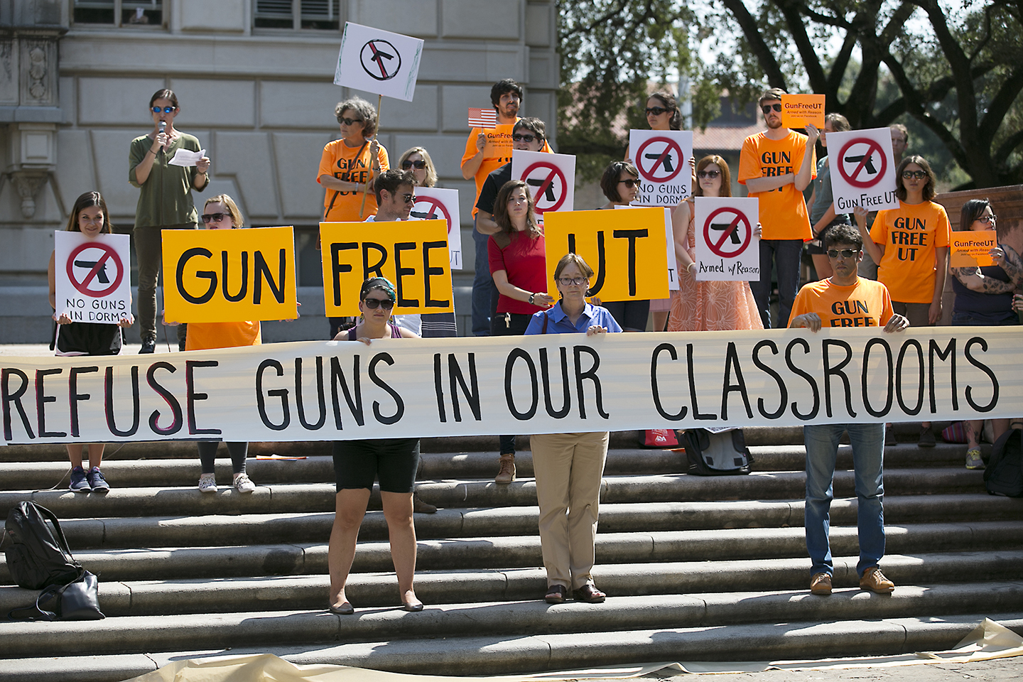 Protestors gathered on the West Mall of the University of Texas campus to oppose a new state law that expands the rights of concealed handgun license holders to carry their weapons on public college campuses and as of August 1, 2016, they can carry in campus buildings. Schools can however designate limited gun-free zones. RALPH BARRERA/ AMERICAN-STATESMAN